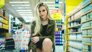 Young Lady in a store aisle